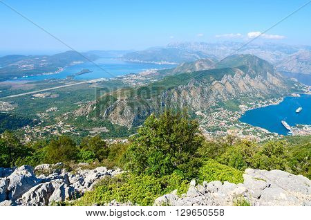 Beautiful view from above on Kotor and Tivat Bay and airstrip in Tivat Montenegro