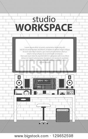 Musician studio workspace vector monochrome thin line illustration background. Musician working table with digital equipments. Computer, headphones, sequencer, loudspeakers and combo on brickwall.