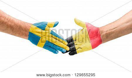 Football Teams - Handshake Between Sweden And Belgium