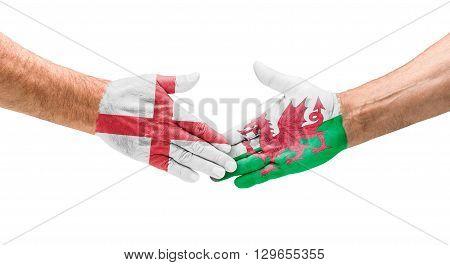 Football Teams - Handshake Between England And Wales