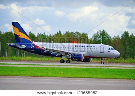 SAINT PETERSBURG RUSSIA - MAY 11 2016. Donavia Airbus A319-111 airplane -registration number VP-BQK- is riding on the runway after landing in Pulkovo International airport
