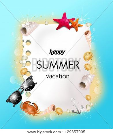 Beautiful illustration of summer background decorated with seashells with text happy summer vacation