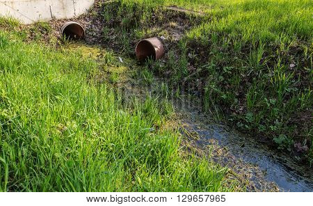 dirty wastewater with an algae pass in the downpipes for drainage gutter among green spring grass