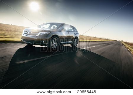 Saratov, Russia - September 29, 2014: Car Toyota Venza fast speed ride on the road