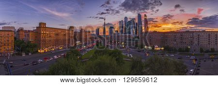 RUSSIA, MOSCOW - May 11, 2016: Area Dorogomilovskaya Zastava  Obelisk  Moscow - city of character. 40 meter obelisk tetrahedral gray granite, completed a golden star.