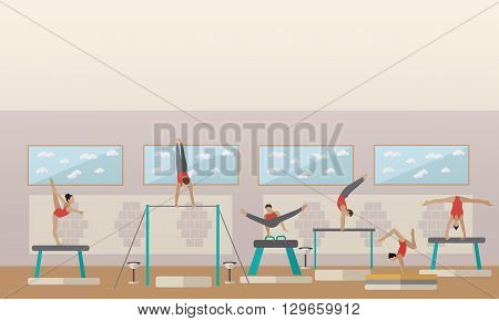 Gymnastic sport competition arena interior vector illustration. Sportsman flat icons. Artistic and rhythmic gymnast exercise. poster