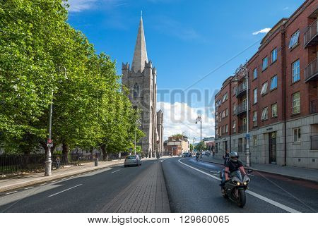 Dublin Ireland - July 30 2013: Traffic in front ofnthe St Patrik's cathedral
