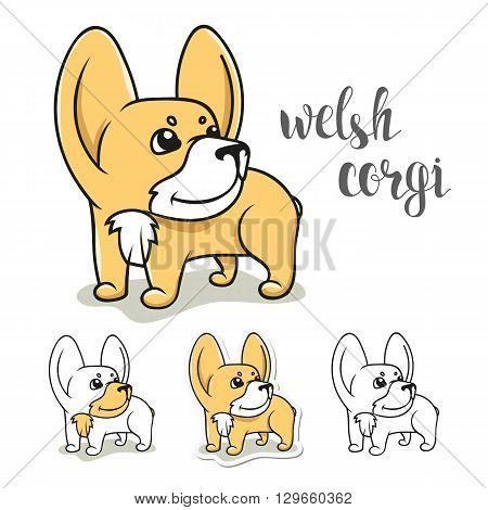 Dogs characters. Doodle dog. Sticker dog Welsh Corgi. Funny character. Funny dogs. Funny animals. Dog isolated. Print dogs