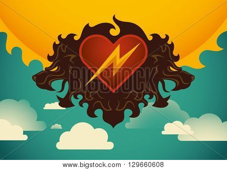 Artistic illustration with lion's heads. Vector illustration.
