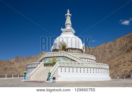 White Tall Shanti Stupa and blue sky Peace Pagoda near Leh Ladakh Jammu and Kashmir India