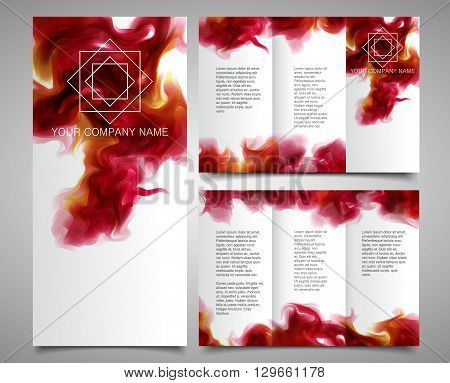 Vector Brochure Design Template With the purple-wine smoke which dissolving in the air background. Vector eps 10.