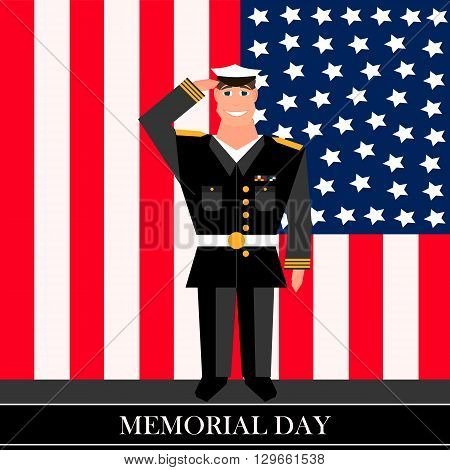 American military officer salutes in the background on american flag in style of cartoon  and flat
