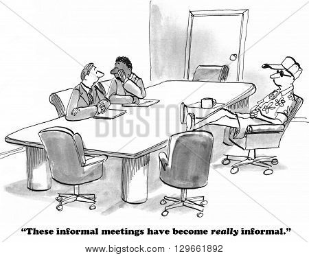 Business cartoon about overly informal clothes at work.