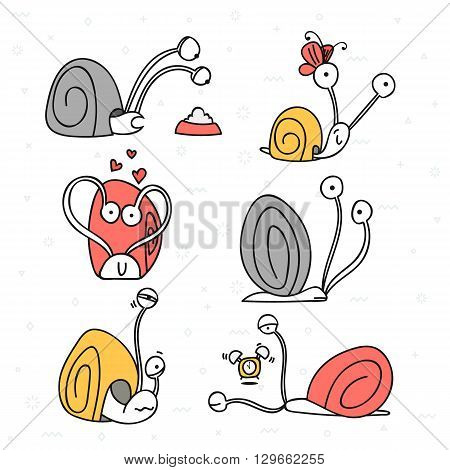 Set of 6 snails doodle handmade. Snail with emotions. Sketch snail. Design elements with animals. Snail for design. Shellfish doodle. Doodle sketch. Doddle character. Cute snail . Summer doodle