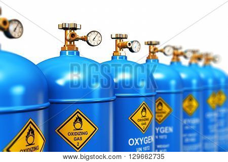 3D render illustration of the group of blue metal steel liquefied compressed natural oxygen gas containers or cylinders for welding or medical use with high pressure gauge meters and valves arranged in row and isolated on white background