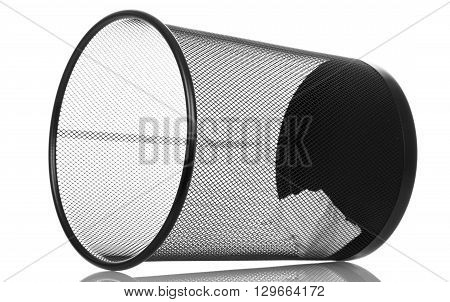 Inverted black office bucket isolated on white background
