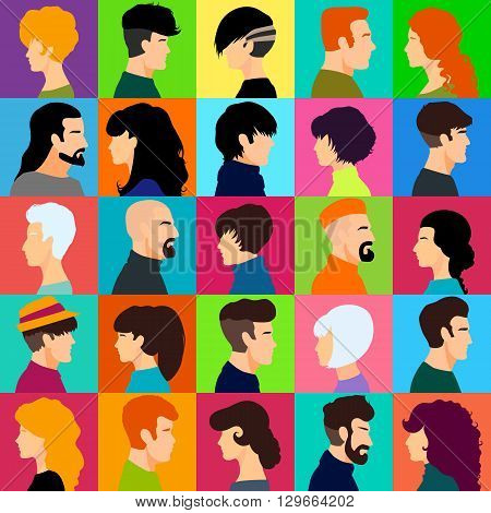 Set of female and male heads. Male and female profiles in a flat style. Female and male avatars with different hairstyles. Vector illustration.