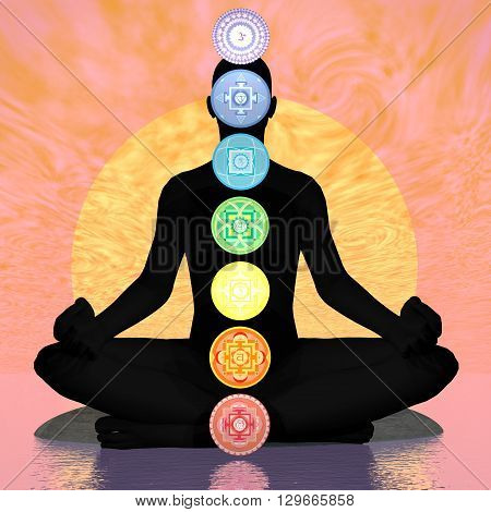 Seven chakra symbols column on black human being in orange sunset background with big sun - 3D render