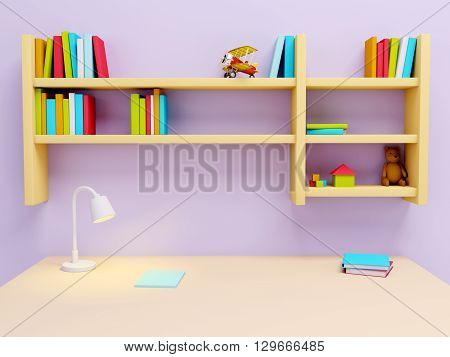 School desk with lamp and book shelves. 3d illustration