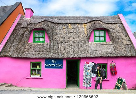 Calway Ireland - August 4 2013: Colored traditional buildings of the Doolin village