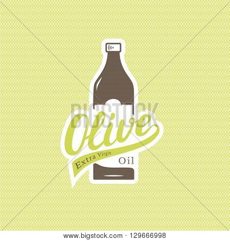 Olive oil lettring logotype with bottle on seamless pattern. Vector illustration.
