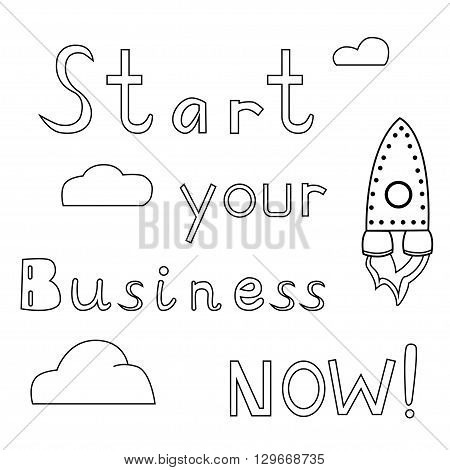 Rocket is flying in the clouds. Doodle image with lettering. Stock Vector illustration.