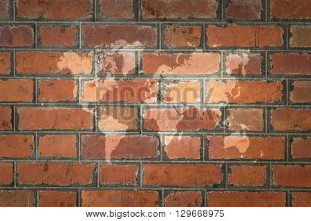 Red Brick Wall Texture Surface With World Map
