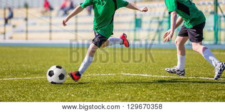 Football soccer match. Training and game for children.
