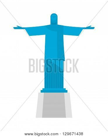 Isolated statue on white background. Flat style statue. Vector illustration statue and landmark historic architecture statue. Statue architecture sculpture symbol tourism travel building symbol.