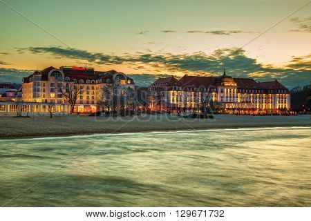 SOPOT, POLAND - APRIL 14, 2016: Sofitel Grand Hotel and Sheraton Hotel is located at the seaside of the Gdansk Bay. Sopot is a very popular tourist resort in the country.