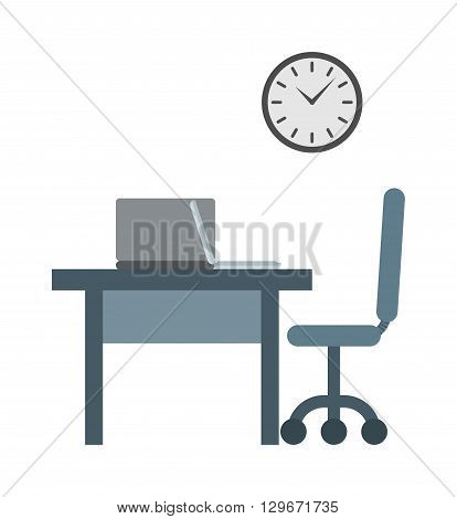 Businessman working place overtime late night in office vector. late for work concept vector and working place with clock late for work. Late for work manager career concept professional occupation.