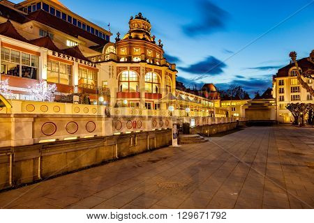SOPOT, POLAND - APRIL 14, 2016: Beautiful architecture of Sopot at night with restaurants, clubs, galleries. Sopot is a very popular tourist resort in the country.