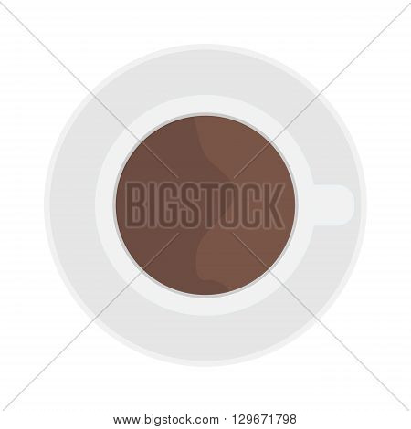 Coffee cup top view isolated on white. Cup coffee top view vector and cup hot coffee top view. Cup coffee top view hot drink espresso and brown cup coffee top view cappuccino, black mocha color mug.