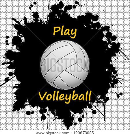 Illustration of volleyball ball and ink as the background.