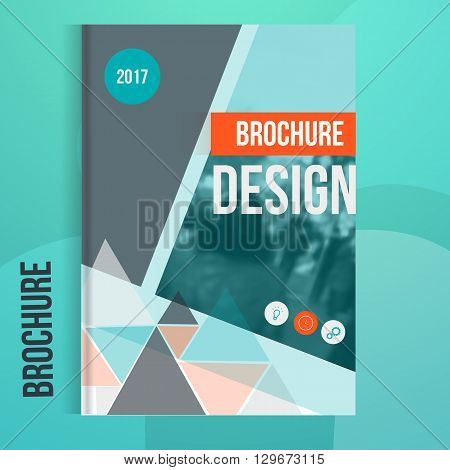 Vector brochure cover template with blured city landscape. Business brochure cover design, flyer brochure cover, professional corporate brochure  cover