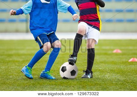 Kids Playing Soccer Football. Soccer Match of Youth Teams. Football Tournament Competition.