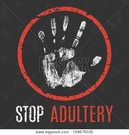 Conceptual vector illustration marital infidelity. Global problems of humanity. stop adultery