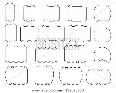Profile bars. Vector set of laminated veneer lumber for building houses. Isolated on white background.