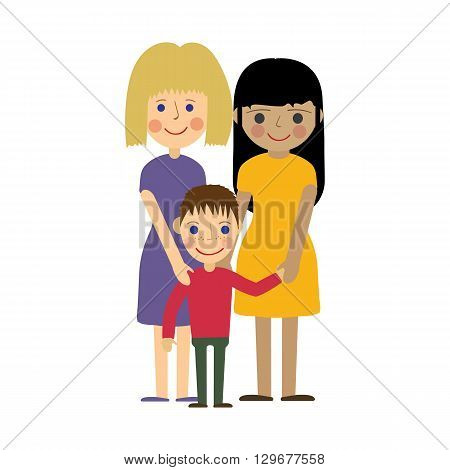 Female gay family with child. Gay parenting. Two women and son standing, smaling and holding hands. Isolated vector illustration.