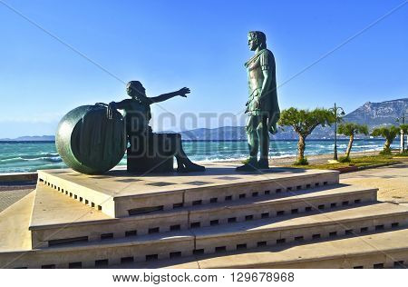 statues of Alexander the Great and the greek filosopher Diogenes at Corinth Greece
