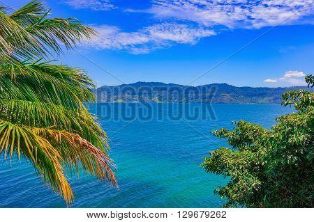 Beautiful tropical landscape, Lake Toba, Sumatra, Indonesia, Southeast Asia. World's largest volcanic lake.