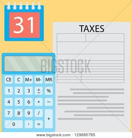 Calculation of tax day. Payday time money payment and financial document tax taxation deadline calculating. Vector flat design illustration