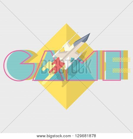 Game. Typographics modern illustration with starship in battle