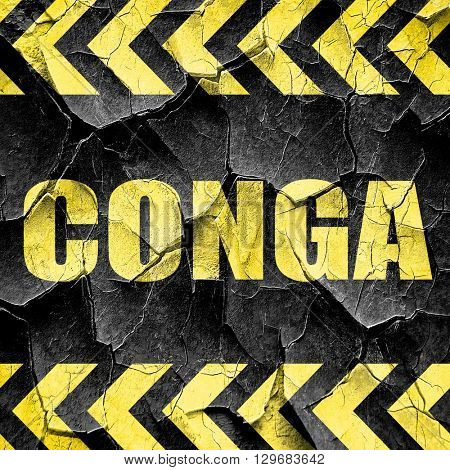 conga, black and yellow rough hazard stripes