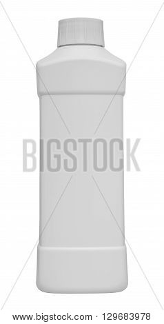 White plastic container for cleansers. This container is blank isolated on white background and it has no shadow.