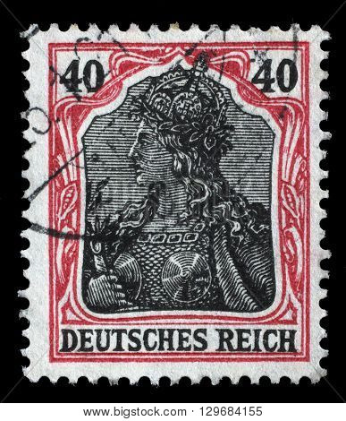 ZAGREB, CROATIA - JUNE 22: A stamp printed in Germany shows Germania (Allegory, Personification of Germany), without inscription, series Germanania, circa 1900, on June 22, 2014, Zagreb, Croatia