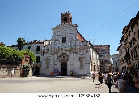 LUCCA, ITALY - JUNE 06, 2015: Chiesa e battistero dei Santi Giovanni e Reparata aka church of Santa Reparata, this church was the cathedral of Lucca untill 725 ac in Lucca, Italy, on June 06, 2015