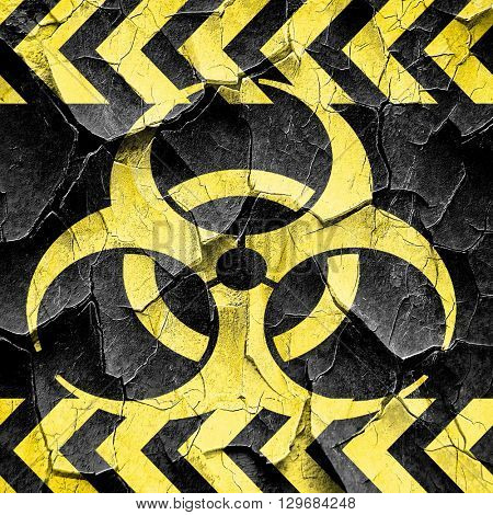 Bio hazard sign on a grunge background, black and yellow rough h