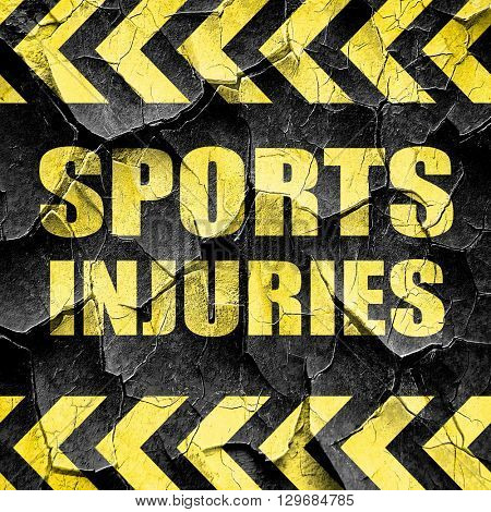 sports injuries, black and yellow rough hazard stripes