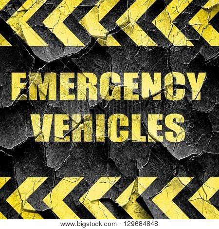 Emergency services sign, black and yellow rough hazard stripes